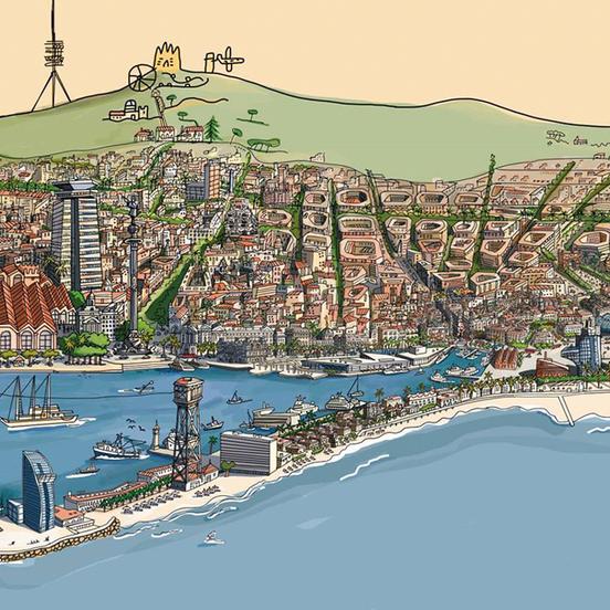 Barcelona vista desde el mar por Javier Mariscal