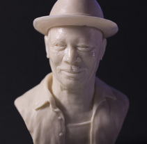 Busto miniatura 1/6 de Morgan Freeman. A Character Design, Sculpture, To, and Design project by Manuel Barroso Parejo - 22-04-2014