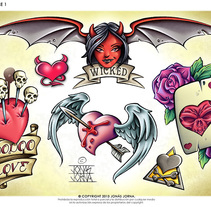 Diseños para láminas de tatuajes (Flash sheets). Un proyecto de Ilustración de Jonas Jorna - Miércoles, 02 de julio de 2014 00:00:00 +0200
