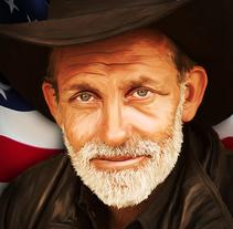 Cowboy retoque fotográfico . Un proyecto de Ilustración, Diseño gráfico y Pintura de Víctor Arnedo Millán         - 19.08.2014
