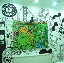 Lienzo+ Mural para tienda. Un proyecto de Ilustración, Bellas Artes y Pintura de Del Hambre  - 22-12-2014
