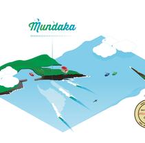 La ola de Mundaka. Ilustración en isométrico!. Un proyecto de Ilustración y Diseño gráfico de ateliergrafista - 05-01-2015