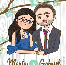Marta y Gabriel Invitaciones. Um projeto de Design e Ilustração de Francesc Gómez Guillamón         - 01.03.2015