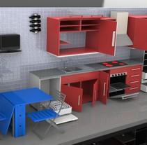 Diseño de cocina 3D. Um projeto de 3D, Design de móveis e Design industrial de Alberto Sánchez Bermejo         - 21.04.2012