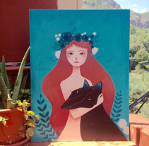 Lady and Wolf - WIP acrylic. A Fine Art, Illustration, and Painting project by Lydia Sánchez Marco - Aug 06 2015 12:00 AM