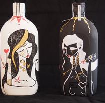 Tequila y Mezcal Alacrán, botellas ilustradas. A Illustration, and Crafts project by Mimbre Studio  - 13-11-2015