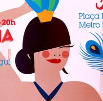 Ilustraciones  para cartel y web Flea Market  Barcelona.. Un proyecto de Ilustración, Diseño de personajes y Tipografía de Marina Stecca         - 18.07.2016