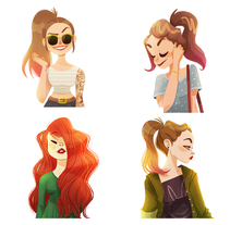 Hipster Girls. A Illustration, Character Design, and Fine Art project by Núria  Aparicio Marcos - Feb 29 2016 12:00 AM