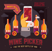Wine Picker. Site illustrations. A Illustration, Graphic Design, and Web Design project by Rosa Mella - 13-01-2016