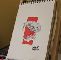 Rata gris - Cabeza. Un proyecto de Ilustración, Bellas Artes y Pintura de Yidier Ruiz         - 16.03.2016