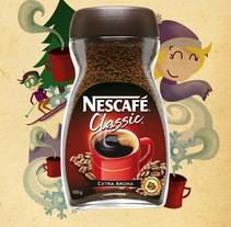Feliz Invierno. Propuesta campaña Nescafé. Un proyecto de Diseño e Ilustración de penelope torres ilustradora         - 02.04.2016