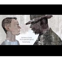 Proyecto de Curso: Escena de Forrest Gump con texturas y figuras geométricas.. Un proyecto de Ilustración y Cine de cristinacorrea         - 03.06.2016