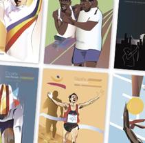 Postales Ilustradas - 20 aniversario de los JJOO Barcelona 92. Un proyecto de Ilustración, Diseño gráfico e Ilustración vectorial de Jaime Venzalá         - 18.09.2016