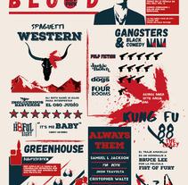 Infografía Tarantino's Influences. Not Without Blood. Un proyecto de Ilustración y Diseño gráfico de Isabel García         - 21.09.2016