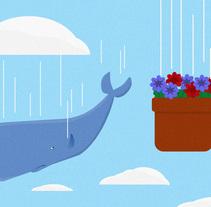 Ilustración/animación de la ballena y las petunias. A Illustration, and Animation project by ed_valcas         - 21.09.2016