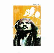 Jack Sparrow.. A Design, Illustration, Film, Video, TV, Character Design, Fine Art, Graphic Design, Painting, Film, and TV project by patriciavillaronsanchez - 06-10-2016