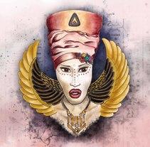 Cleopatra, ilustracion para proyecto personal, explorando técnicas y composición. Un proyecto de Ilustración y Diseño de personajes de Yumir Canelones         - 05.11.2016