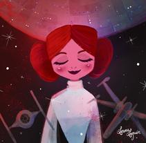 Leia is with the stars. Un proyecto de Ilustración, Diseño de personajes y Cine de Lorena Loguén - 29-12-2016