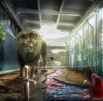 Mi Proyecto del curso: Secretos del fotomontaje y el retoque creativo: El León y la chica de rojo. . Un proyecto de Diseño de personajes de montoyatorreon123 - 01-01-2017