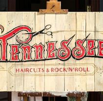 Tennessee Haircuts & Rock'n' Roll. Un proyecto de Br, ing e Identidad, Artesanía, Bellas Artes, Tipografía, Caligrafía, Arte urbano, Infografía y Naming de Miguel Ferrera García - 25-02-2017