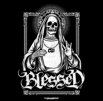 - Blessed - 4Real Clothing x Sultan . A Design, Illustration, and Screen-printing project by Adrian Ballesteros - 25-02-2017