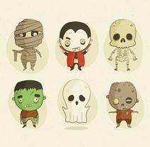 Ilustración Personajes Halloween. Un proyecto de Ilustración de Ana  Sansó - 01-10-2016