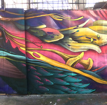 Mural El viaje. A Illustration, Painting, and Street Art project by Javier Casanueva G. - 06-06-2017