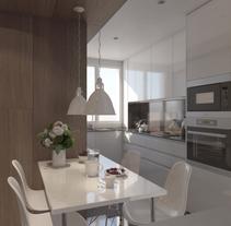 Proyecto e infografías cocina. Um projeto de 3D, Arquitetura, Arquitetura de interiores e Design de interiores de Ferran Prat - 04-04-2017
