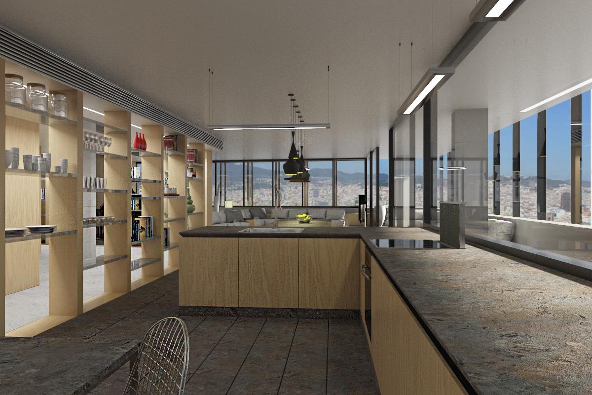 Dise o interior de vivienda en torre de oficinas domestika for Vivienda interior