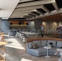 Ideas de diseño de interiores de oficina moderna para cocina, despensa y áreas de espera por Yantram Conceptos de diseño interior. A Design, 3D, Architecture, Interior Architecture, Interior Design, and Video project by Yantram Studio  - 04-07-2017