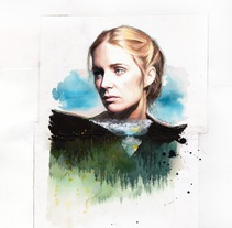 Written on the mountains. Portrait of Agnes Obel.. Un proyecto de Ilustración y Bellas Artes de Mentiradeloro Esther Cuesta         - 04.08.2017