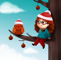 Girl in a tree. A Illustration project by Carolina Valtuille         - 14.12.2017