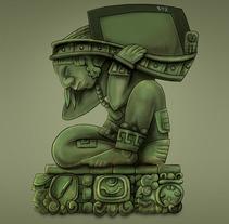 Ancient Maya Mocaw holding a Cintiq 27QHD. Um projeto de Ilustração, Design de personagens e Retoque digital de Carlos Arriaga         - 17.12.2017