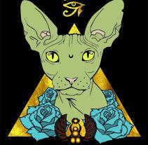 Ilustracion digital Nefertiti-Sphynx Cat. Un proyecto de Ilustración vectorial de Cristina Rodríguez Gómez         - 10.01.2018