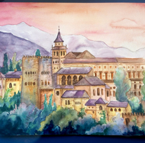 Alhambra-en-Primavera. A Illustration, Fine Art, and Painting project by Henar Jiménez Martín de Villodres         - 05.02.2018