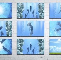 Storyboard para el anuncio de agua Mangali. . Um projeto de Ilustração de Xabier Huici         - 21.03.2018