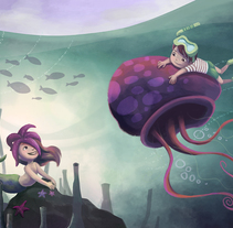Mermaid and kid playing with a jellyfish. A Illustration project by Evelt Yanait         - 02.03.2018